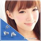 唯愛 簡單立體愛心貼耳耳環 925純銀耳環 維克維娜