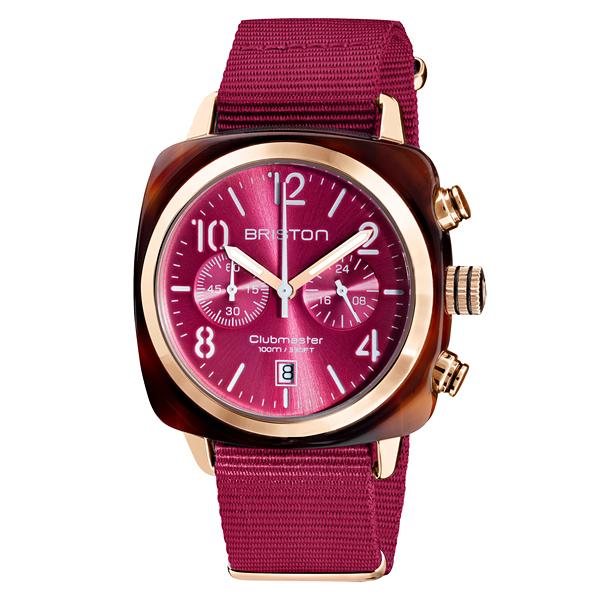 BRISTON CLUBMASTER 經典雙眼計時腕錶-莓果紅