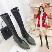 長筒靴女秋冬尖頭粗跟高筒系帶馬丁靴后拉鏈顯瘦高跟過膝靴 Ic3690『毛菇小象』