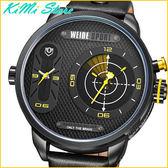 WEIDE 雙時區雷達指示轉動腕錶 粗曠軍事風 55mm 超大錶盤 威得LED動態雷達顯示 【KIMI store】