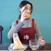 【全館】現折200新款創意圍裙饞廚房創意工作服情侶純棉簡約男女黑紅色款