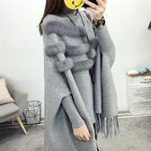蝙蝠衫套頭秋冬季新款寬鬆百搭針織毛衣女斗篷披肩外套高領流蘇潮  9號潮人館
