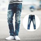 牛仔褲 韓國製立體抓皺塊狀刷色刷破小直筒...