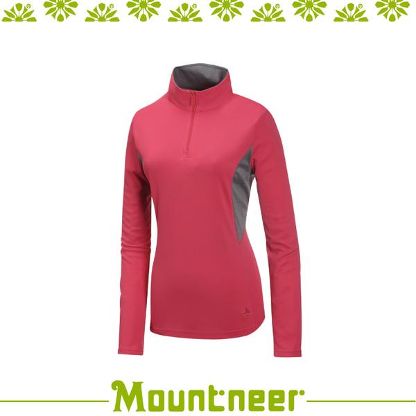 【Mountneer 山林 女 透氣排汗長袖上衣《深玫紅》】31P32/排汗衣/涼感衣/抗紫外線/運動長袖/登山露營