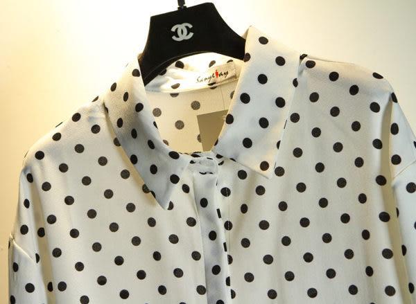 (全館免運) - 韓 點點長款長袖襯衫 (XA-829)