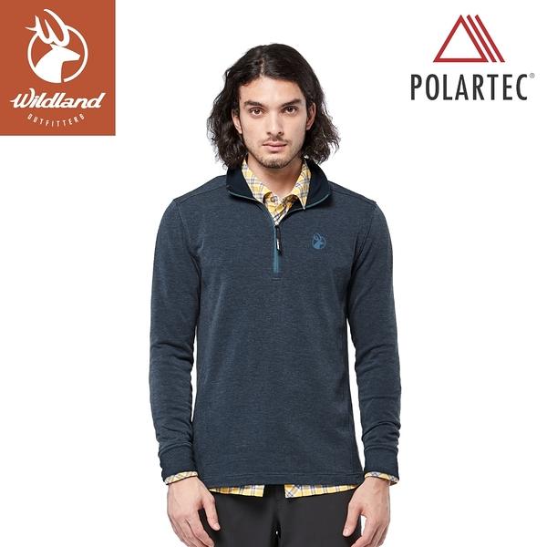 【Wildland 荒野 男 POLARTEC 彈性類羊毛功能上衣《迎賓藍》】P2608/機能衣/保暖衣/衛生衣/內搭