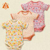 日本西松屋童裝 女寶寶 短袖純棉活肩包屁衣 套裝三件組 黃水果【NI200249049】