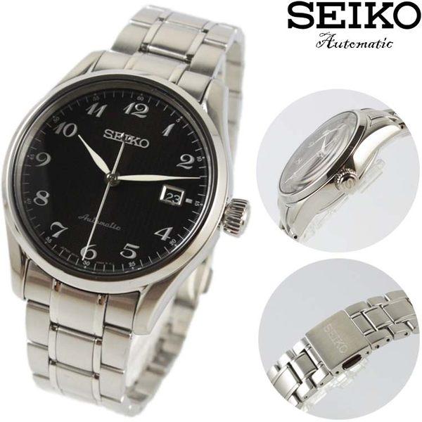 【萬年鐘錶】SEIKO Mechanical 精工23石 都會機械腕錶  不鏽鋼帶 銀殼  黑面  40mm 6R15-03N0D(SPB037J1)