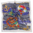 TRUSSARDI 海洋風情純棉帕巾(藍)989045-20