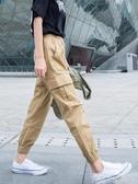 卡其色褲子女夏工裝褲女寬鬆bf束腳運動褲女夏季薄款休閒女褲顯瘦 依凡卡時尚