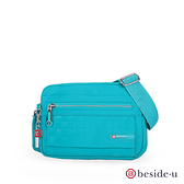 BESIDE-U BTO 防盜刷菱格紋防潑水斜肩包側背包-勁藍色 原廠公司貨