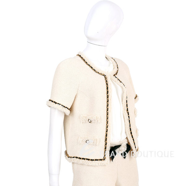 EDWARD ACHOUR PARIS 米色鍊帶襯邊短袖毛呢外套 1620342-40