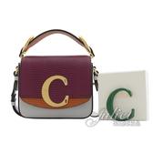 茱麗葉精品【全新現貨】CHLOE 新款 金屬C Mini 蜥蜴紋手提單肩方包.灰/紫