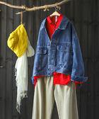 洋氣百搭寬鬆做舊純棉短版牛仔外套-設計家/Y6342
