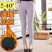 保暖--完美腿型條紋配色鬆緊褲頭設計內貼絨素面長褲(黑.灰.藍S-2L)-P93眼圈熊中大尺碼