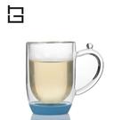 【HG】雙層玻璃馬克杯矽膠底(藍)/300ml (現貨+預購)