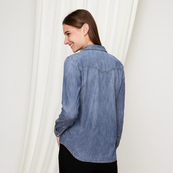 Gap女裝 Jolin明星同款直筒長袖西部風牛仔恤衫 239372-淺靛藍