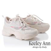 ★2019春夏★Keeley Ann輕運動潮流 歐美風多色拼接軟墊休閒鞋(白色) -Ann系列
