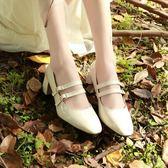 復古女人味英倫瑪麗珍小單鞋女 方頭酒紅色米白色扣帶學院小皮鞋