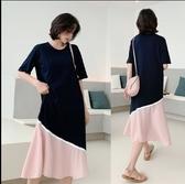 韓長版裙休閒裙洋裝T裙L-3XL拼接雪紡短袖連衣裙景1F5.6147皇潮天下