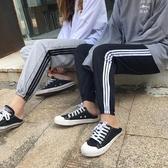 新品情侶款日系三條線男女運動褲學生休閒窄管褲交換禮物