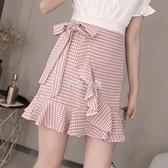 不規則花瓣魚尾裙女夏季新款a字雪紡半身裙高腰包臂格子短裙  快速出貨