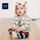 Gap男女嬰兒 怪物造型平織連帽長袖開襟針織外套 375372-淺麻灰