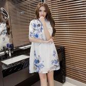 原創復古文藝范大尺碼高檔水墨印花日常改良旗袍裙