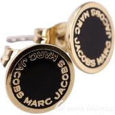 MARC JACOBS Logo Disc Stud 字母琺瑯圓盤耳針式耳環(金x黑) 1820172-01