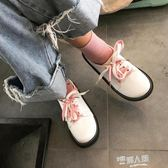 新款日系學院風軟妹鞋圓頭繫帶原宿風小皮鞋百搭學生小白鞋娃娃鞋 全館免運