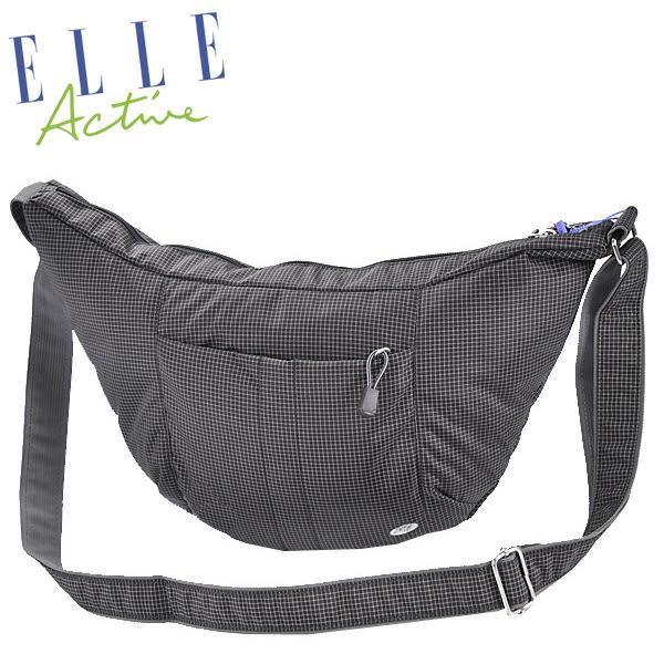 Backbager 背包族【ELLE Active】都會休閒彎月包/側背包/隨身包/斜背包/外出包 黑色