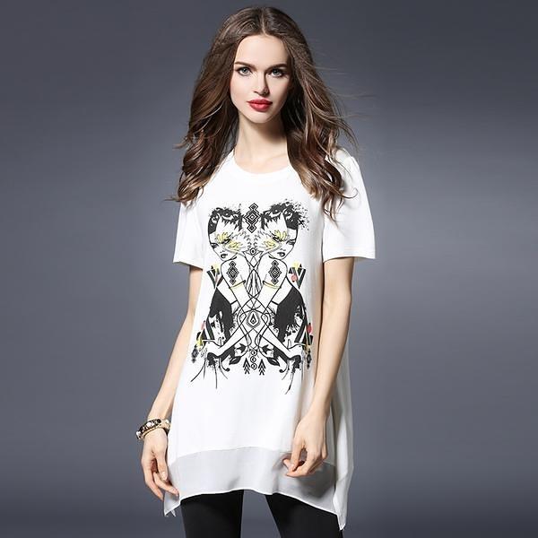 卡樂store...大尺碼女裝時尚印花雪紡拼接寬鬆T恤上衣 2色 XL-5XL #zr2618