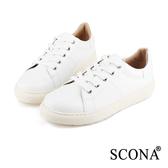 SCONA 全真皮 個性綁帶厚底休閒鞋 白色 7242-2