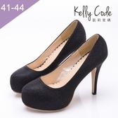 大尺碼女鞋-凱莉密碼-女神級性感婚鞋內防水台圓頭高跟鞋11cm(41-44)【ME1185】黑色 #現貨