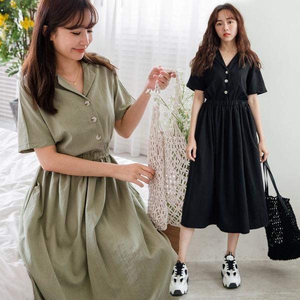 MIUSTAR 翻領排釦鬆緊棉麻洋裝(共2色)【NJ1690】預購