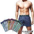 PLAYBOY內褲 LOGO黑織帶五片式四角褲平口褲 單件組 PB214-顏色隨機