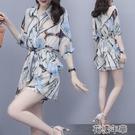 套裝單/套裝夏新款韓版寬鬆遮肉顯瘦雪紡印花套裝氣質休閒時尚兩件套 快速出貨