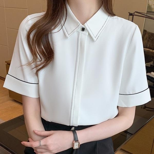 白色襯衫女短袖職業正裝夏季氣質雪紡商務工作服寬松面試襯衣中袖