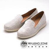 WALKING ZONE 金屬質感平底 女鞋-白(另有黑)