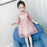 【雙十二】狂歡女童連身裙春秋2018新款童裝春裝蕾絲裙女孩公主裙兒童洋氣裙子夏   易貨居