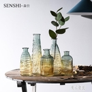 歐式小清新復古浮雕透明玻璃花瓶客廳插花擺件民宿家居裝飾擺件 LJ5194【極致男人】