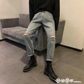 破洞牛仔褲男士bf港風帥氣百搭長褲子寬鬆潮流直筒褲2020春季新款 西城故事