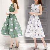 新款A字無袖洋裝 2019歐洲站夏季女時尚長裙顯瘦新款韓版印花連身裙 FR12174『俏美人大尺碼』