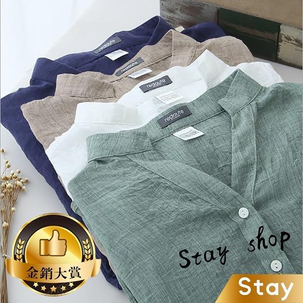 【Stay】日系小清新寬鬆棉麻外套 襯衫 小外套 立領棉麻 薄外套 防曬外套【J36】