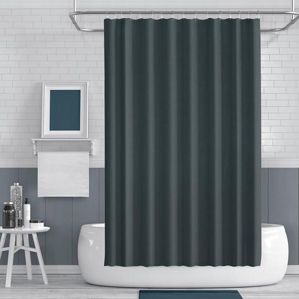 浴室黑色浴簾布遮光防水窗簾浴簾套裝衛生間防霉遮擋簾擋水簾掛簾   koko時裝店