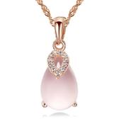 項鍊女歐美天然芙蓉石粉晶幸運之石吊墜 鍍銀項飾品《小師妹》ps106