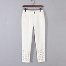 [超豐國際]帛春夏裝女裝白色水洗鉚釘歐美風長褲 40240(1入)