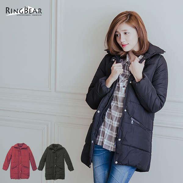 質感保暖大衣--俐落保暖立領鋪厚棉蜜桃絨長版外套(黑.紅XL-5L)-J291眼圈熊中大尺碼★