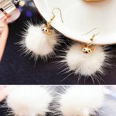 耳環 可愛 熊熊 珍珠 毛球 造型 甜美 耳環【DD1711123】 icoca  11/30