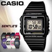 CASIO 手錶 卡西歐W 215H 1A 數字錶黑色中性錶方形防水50 米LED 背光照明膠質錶帶